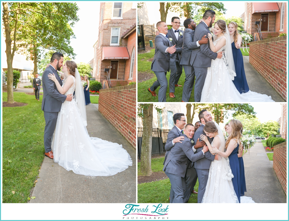 bride and groom fun during photos