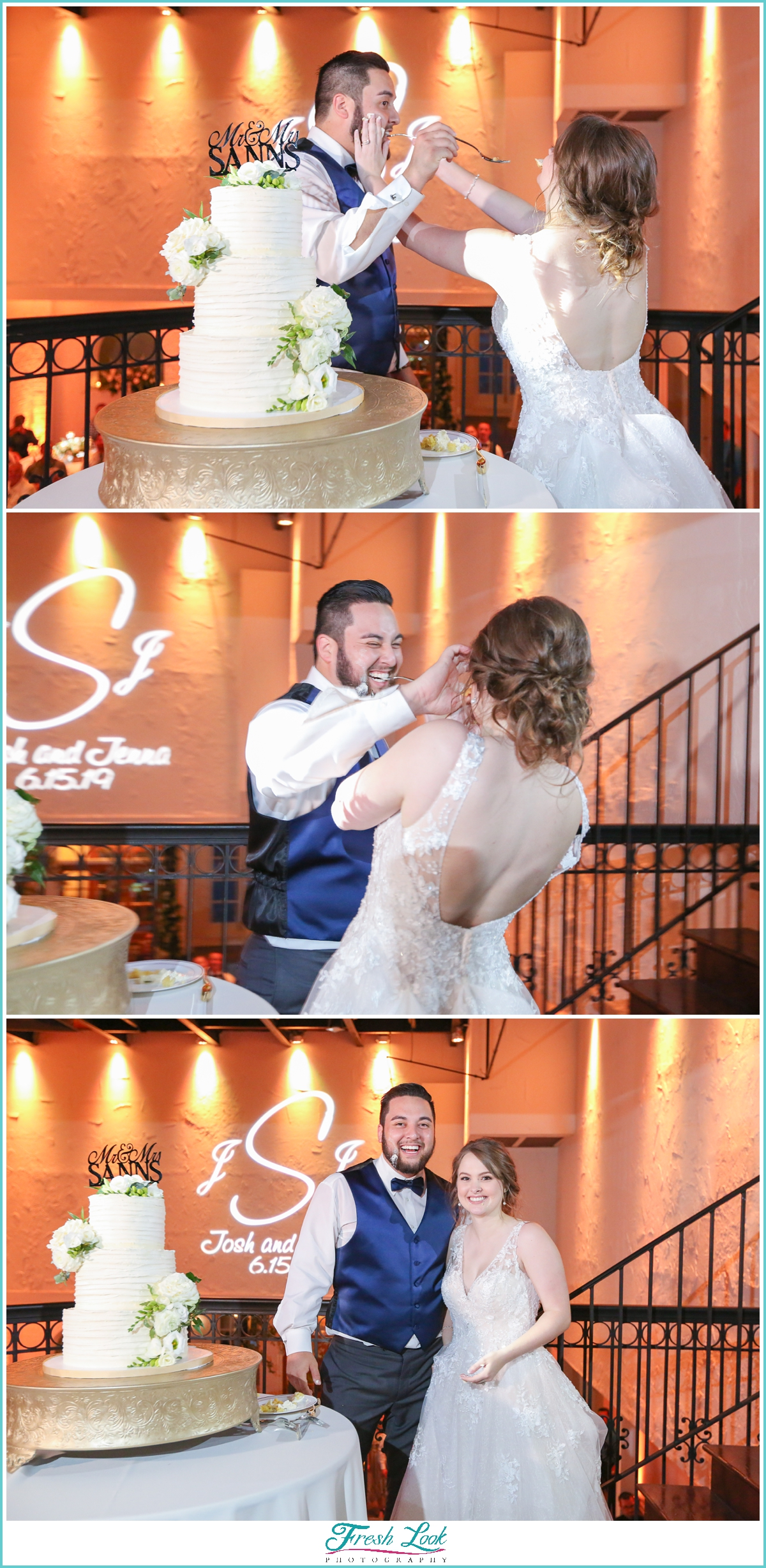 bride and groom smooshing cake in each other's face