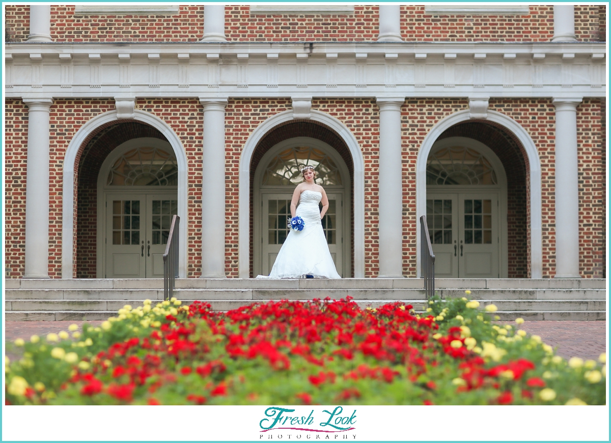bridal portraits with strong architecture