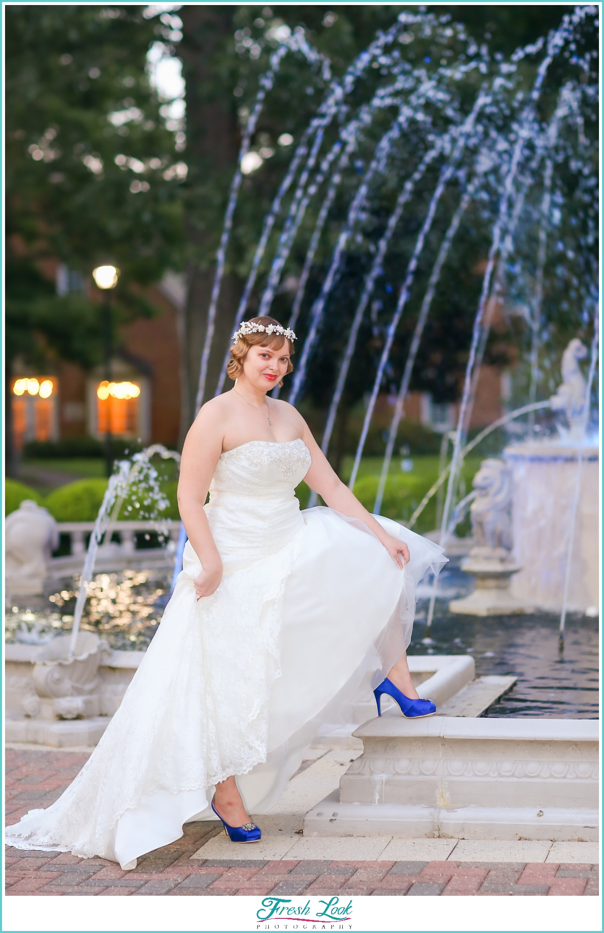 bride and fountain photos
