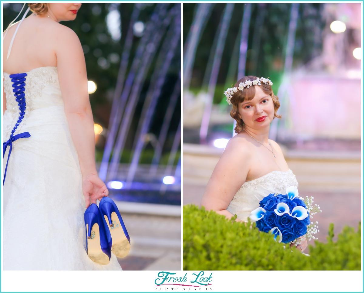 unique blue themed bridal portraits