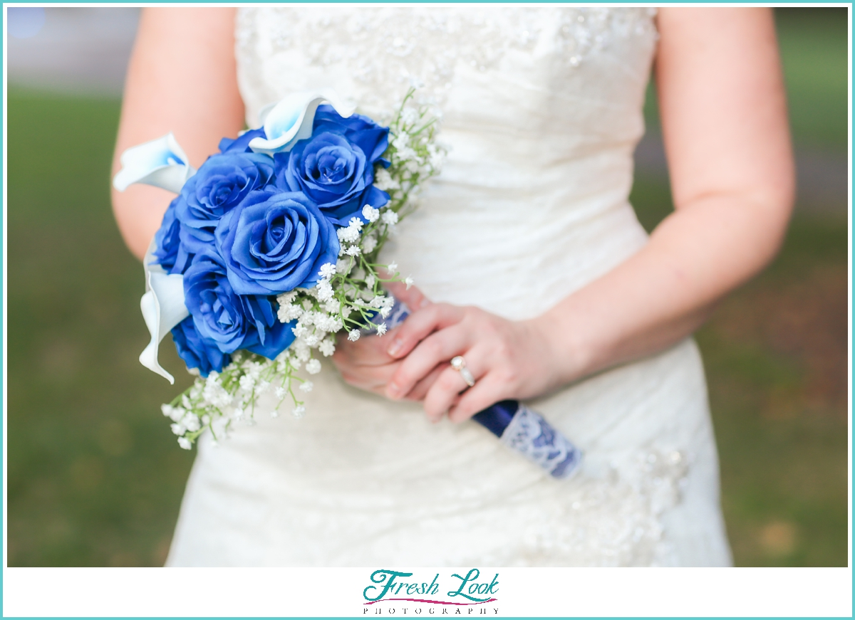 DIY blue and white wedding bouquet