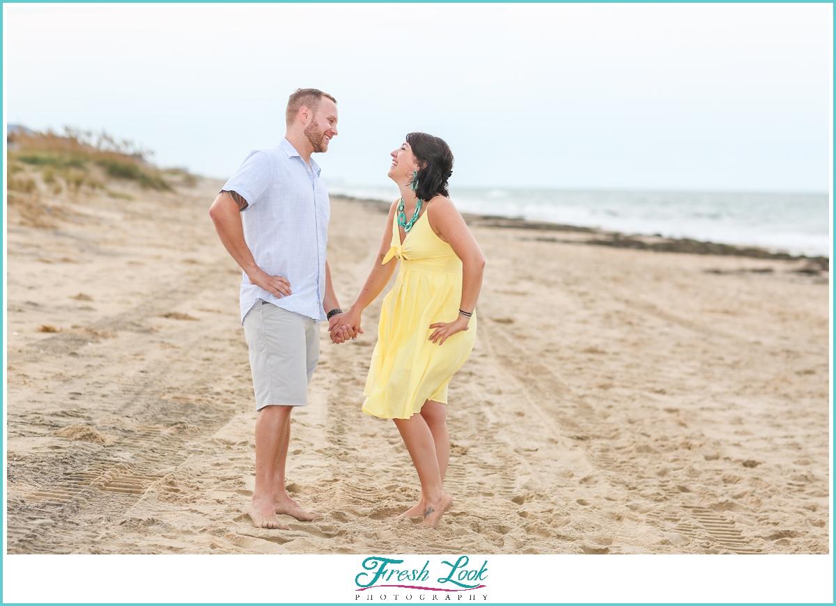 romantic Sandbridge couples beach photos