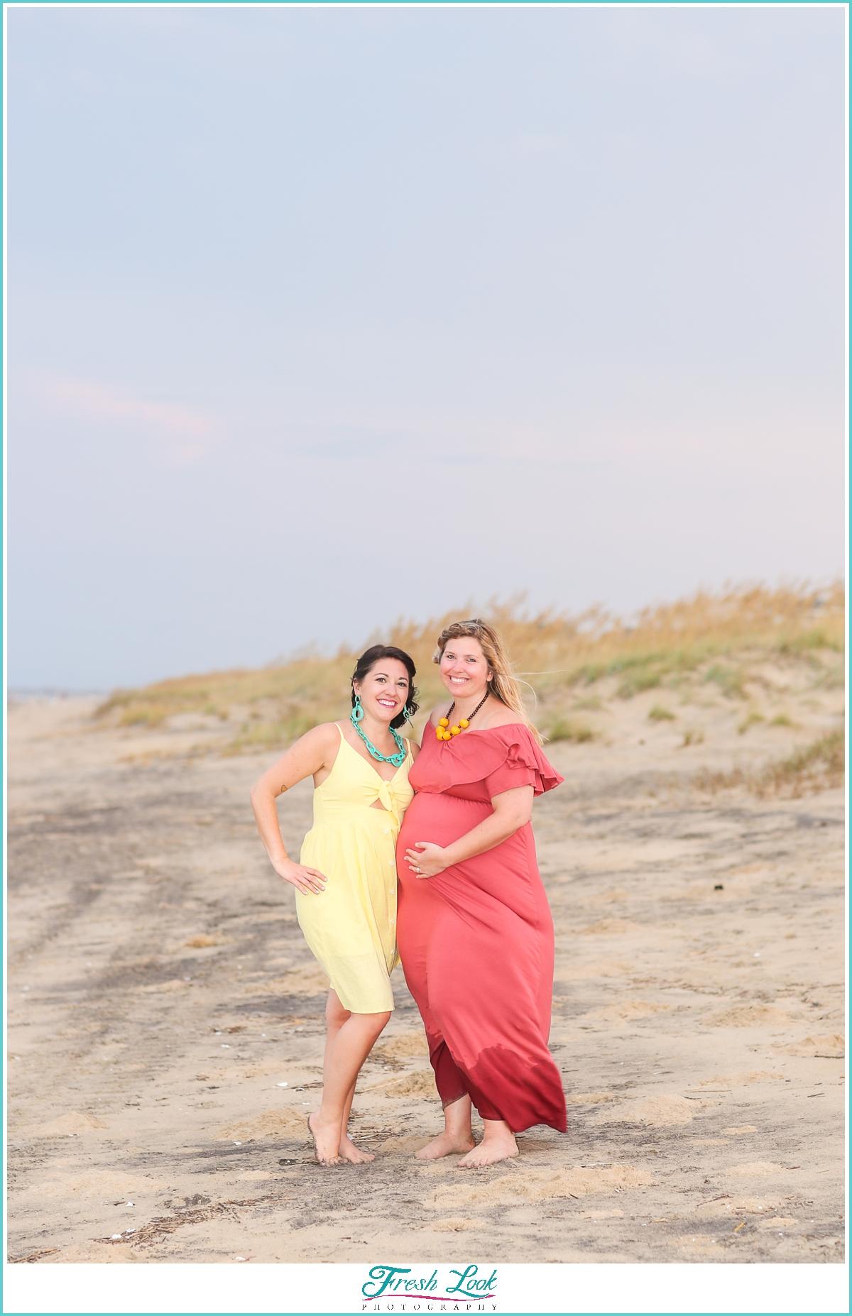 sister photos on Sandbridge beach