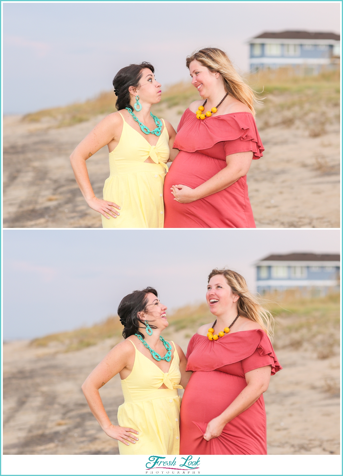 sisters being silly at Sandbridge photoshoot