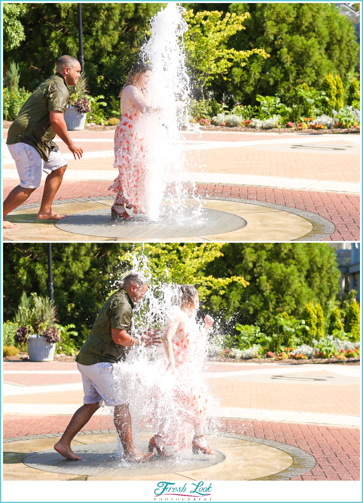 splashing in the fountain together
