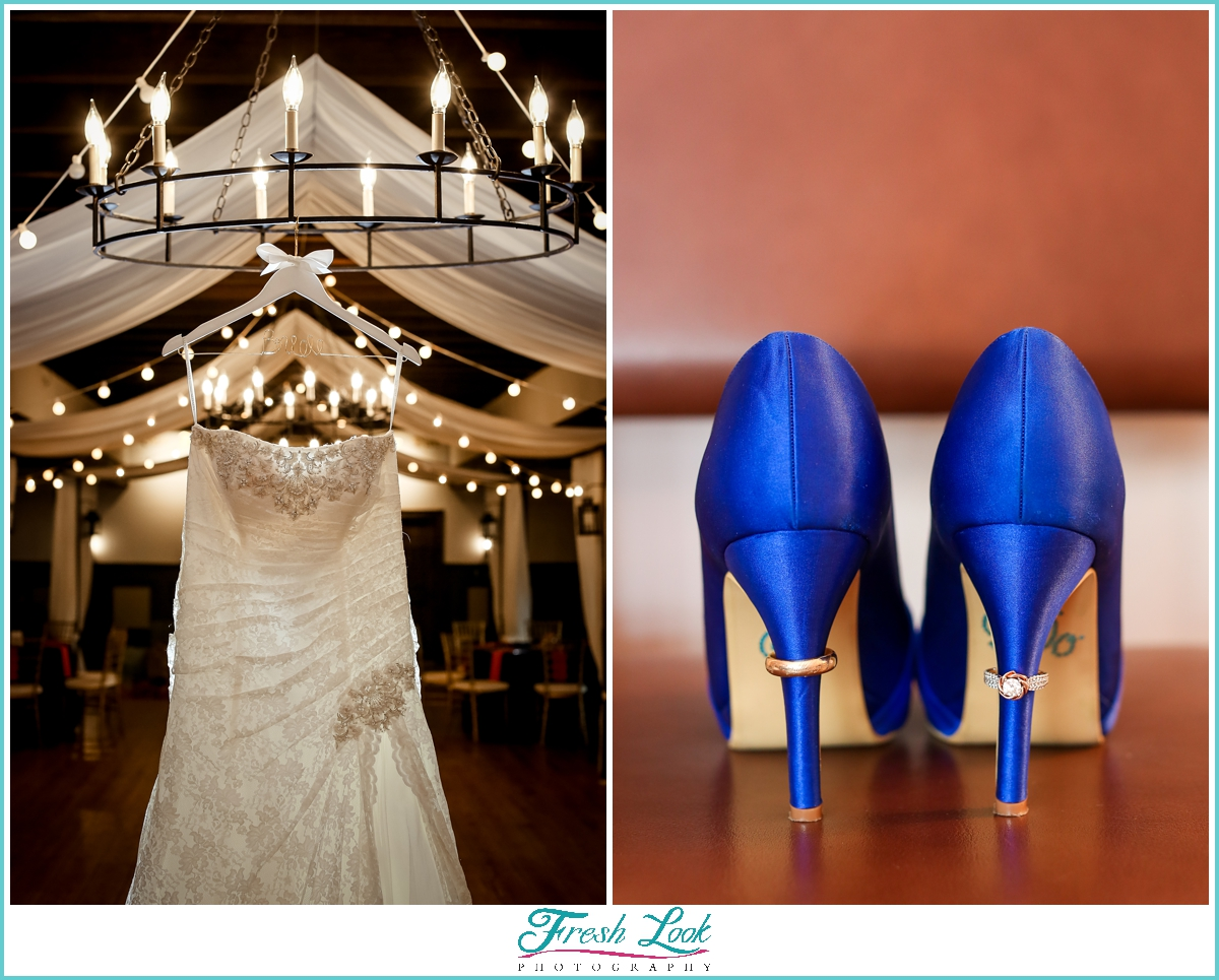 Wedding dress and blue wedding shoes