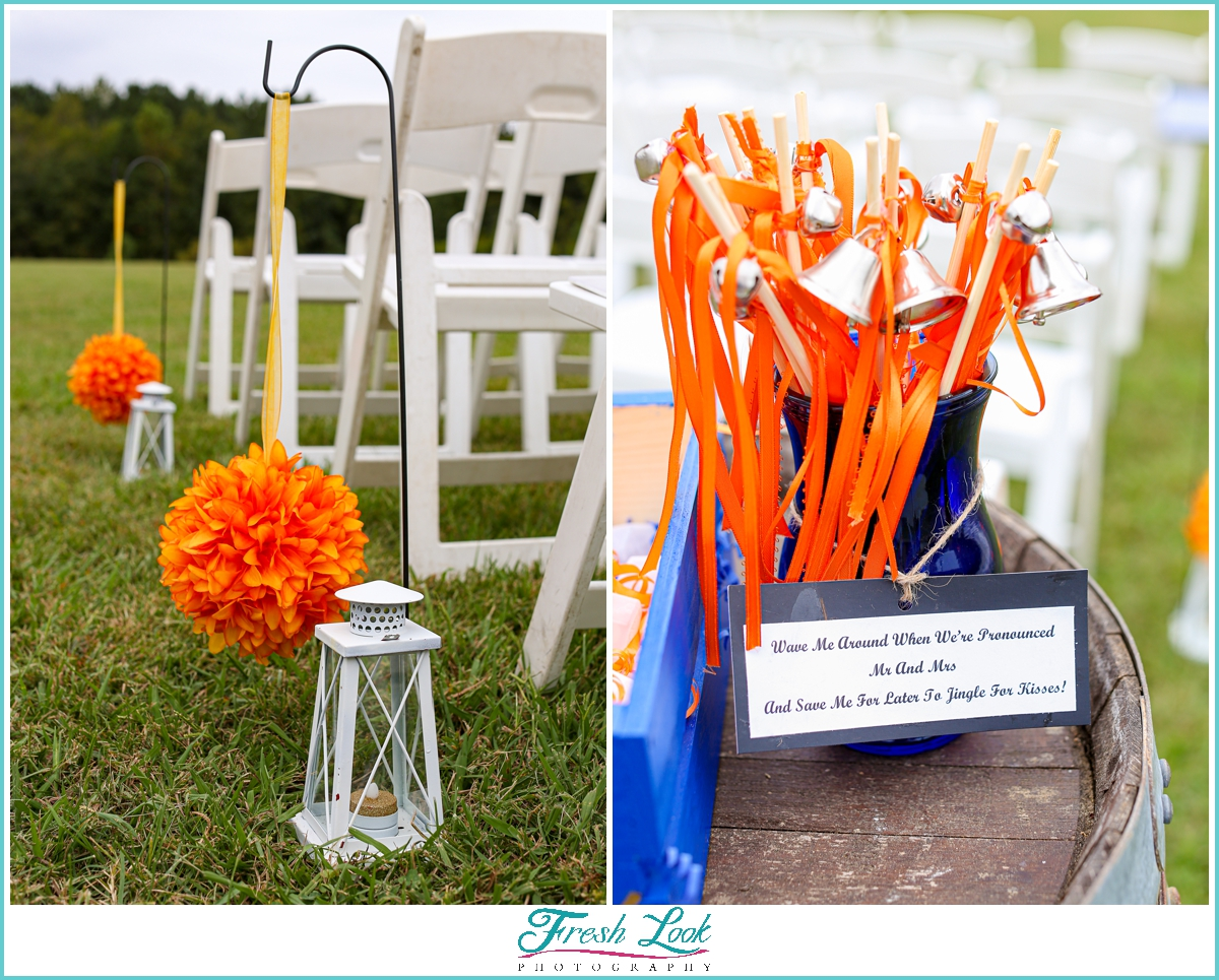 orange and blue fall wedding decor
