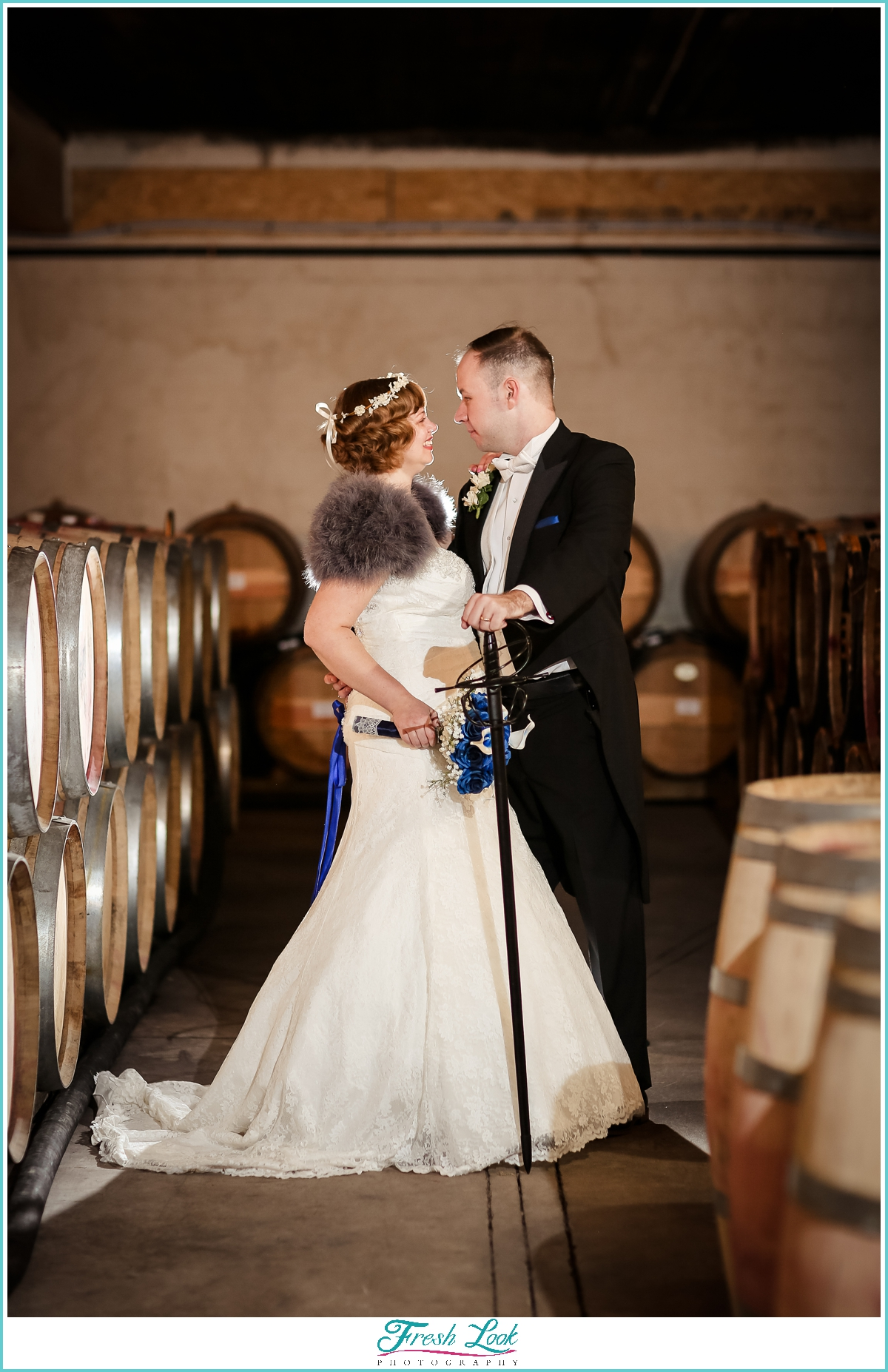 bride and groom winery cellar portraits