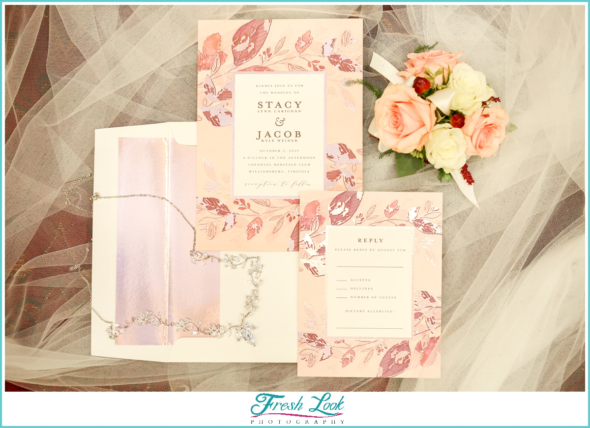 Pink and cream wedding stationery