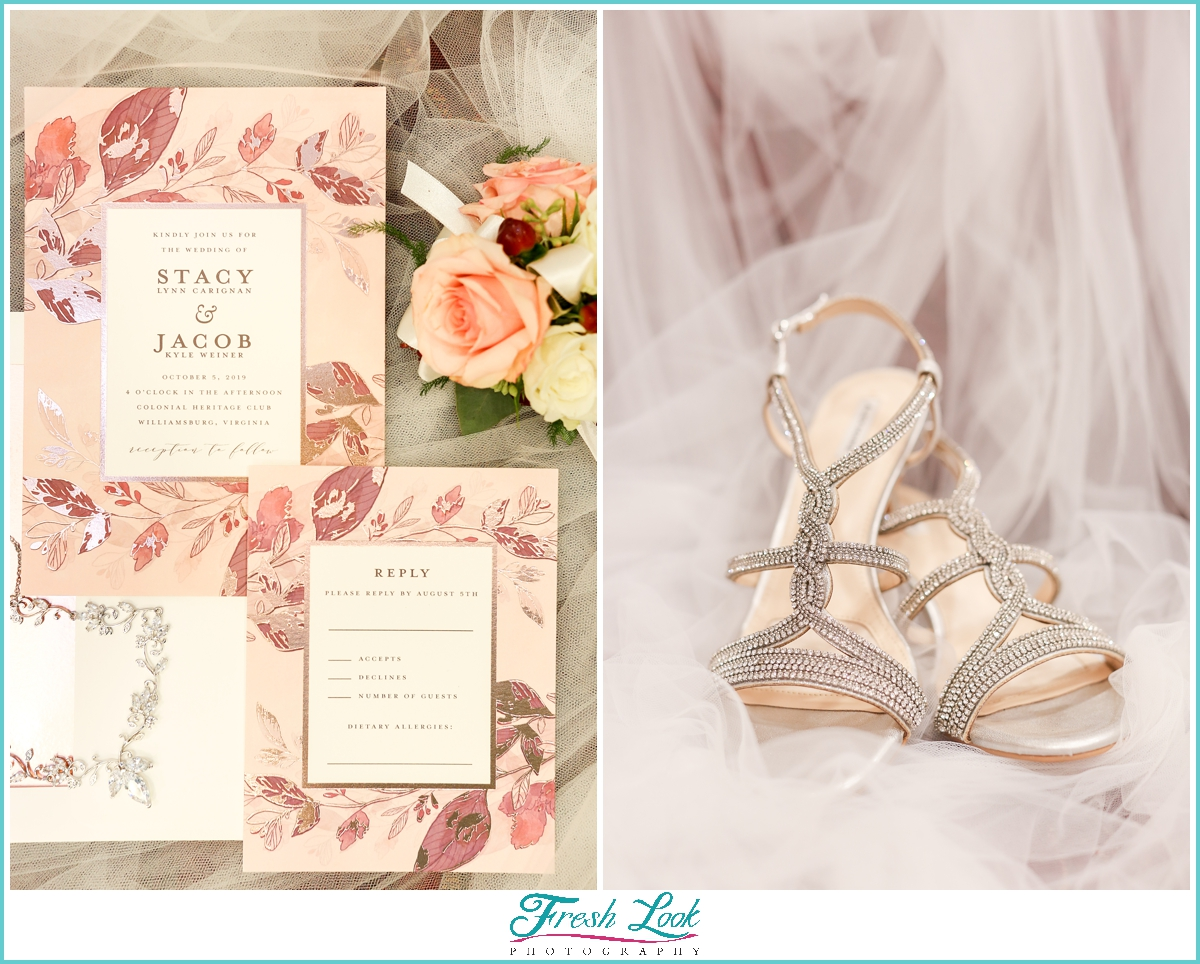 wedding stationery and bridal shoes