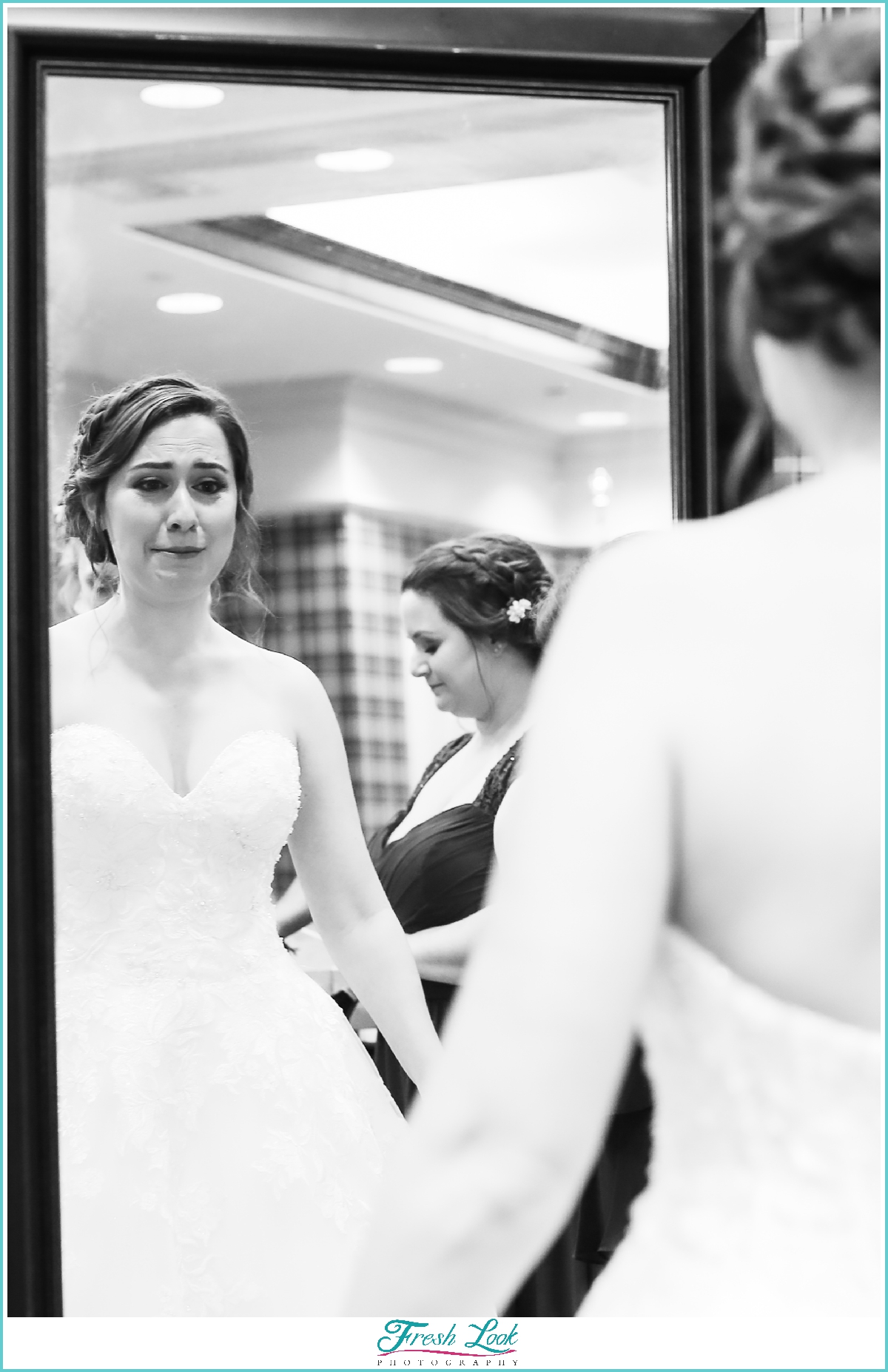 bride seeing herself for the first time