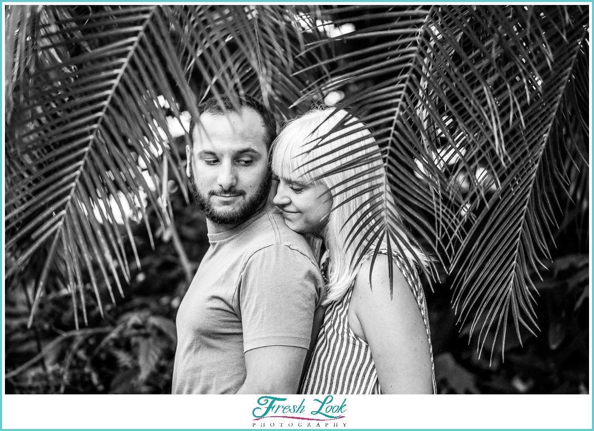 tropical themed engagement session