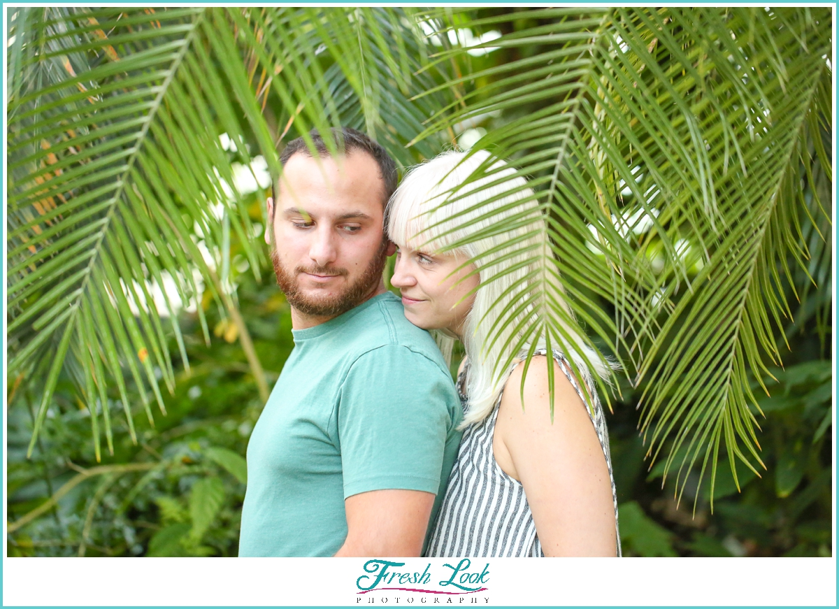 palm leaves tropical engagement session