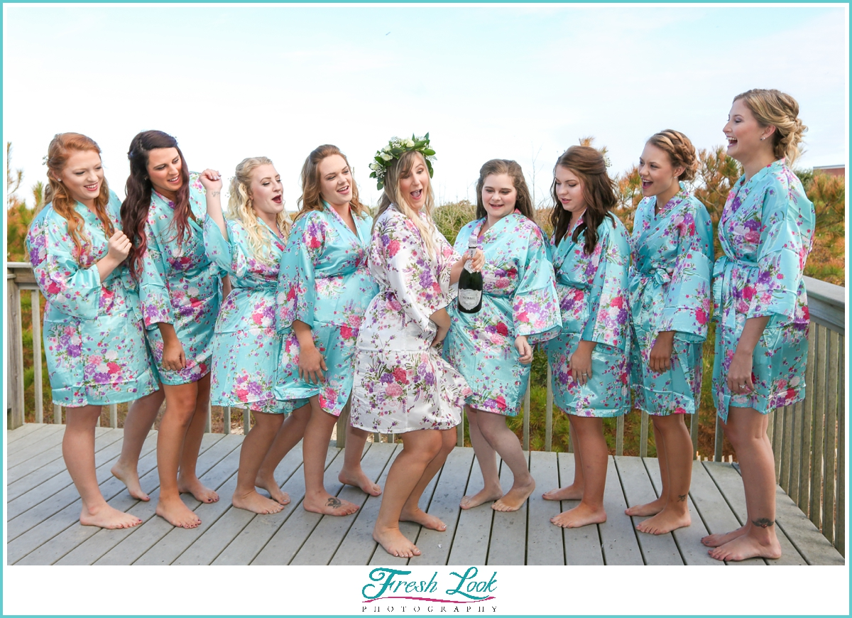 bride and bridesmaids in robes idea