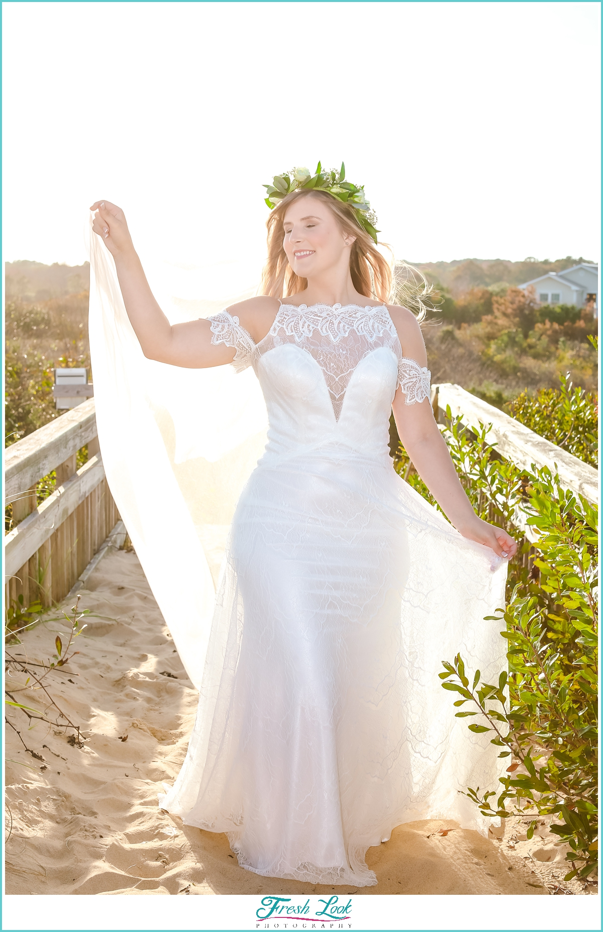 bridal goddess at the beach