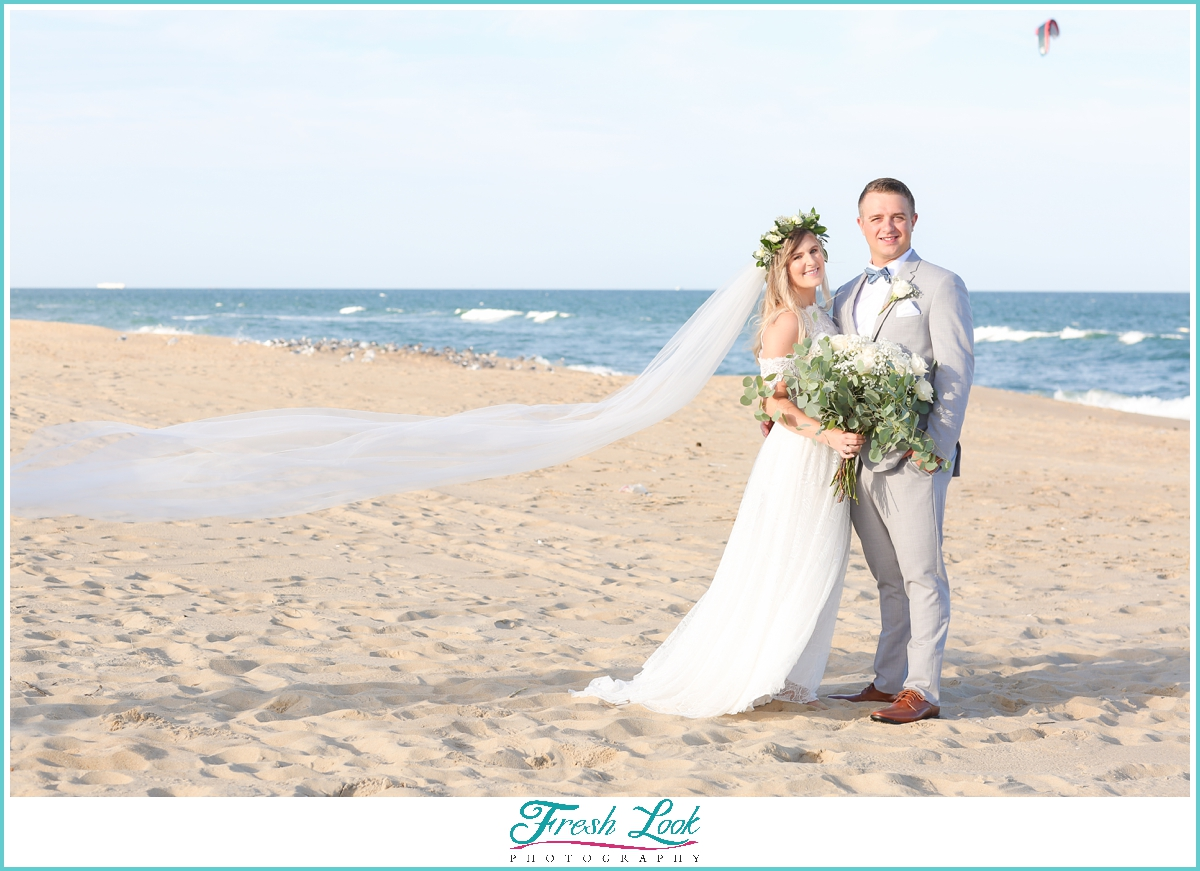 romantic bridal portraits on the beach