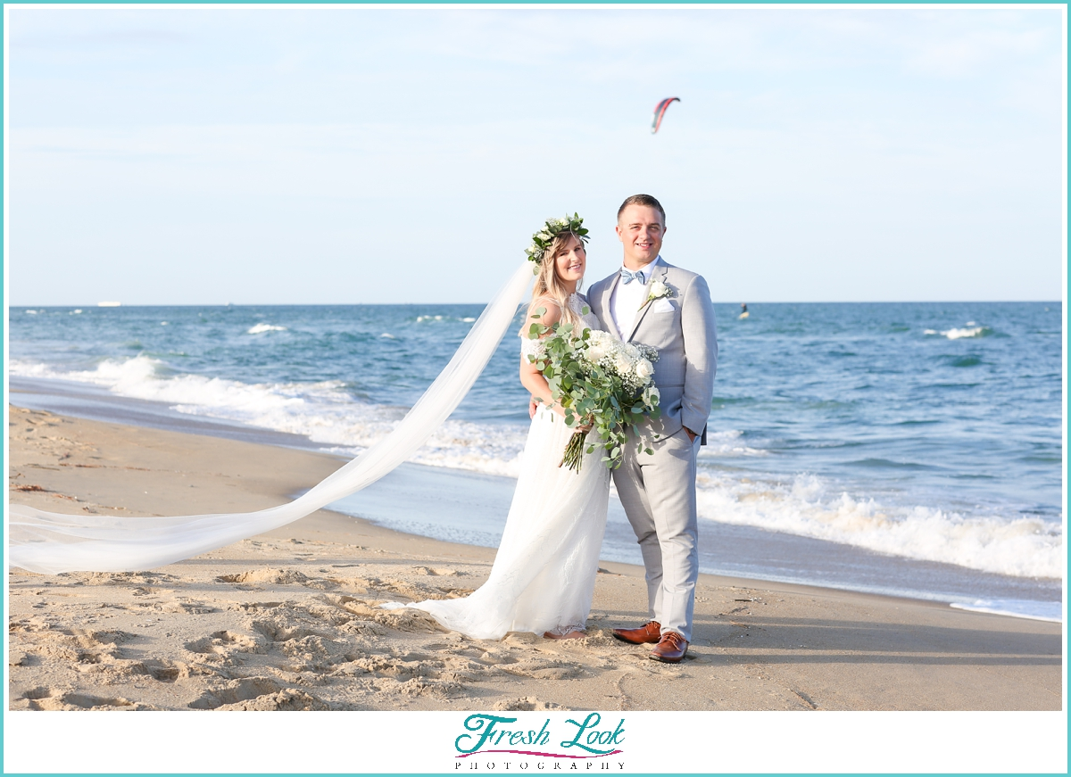 romantic bride and groom beach photos