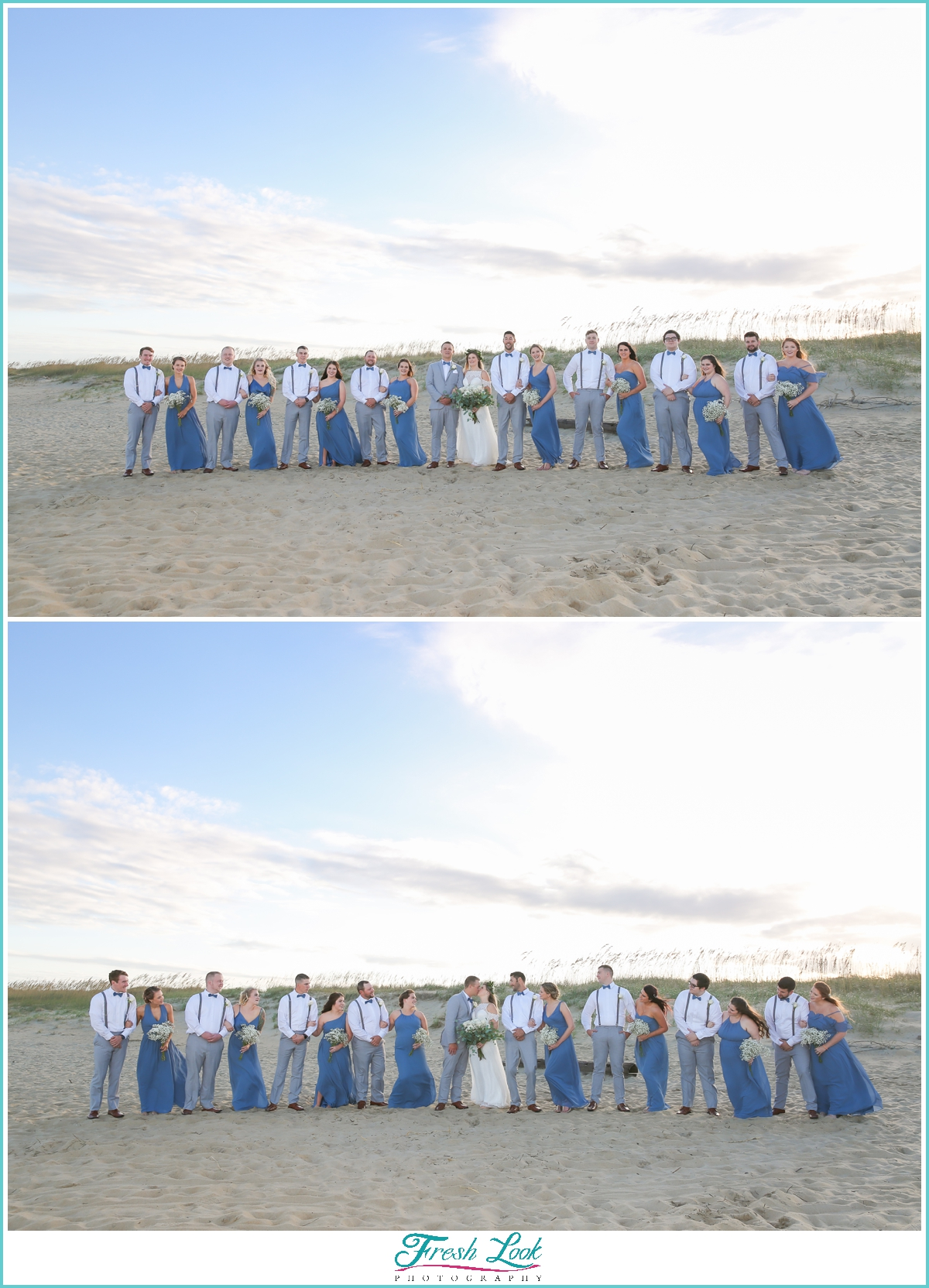 bridesmaids and groomsmen on the beach