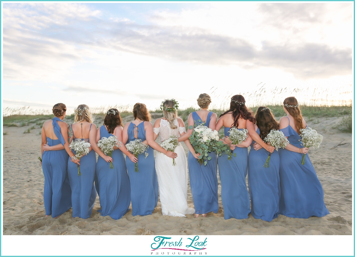long blue bridesmaids dresses