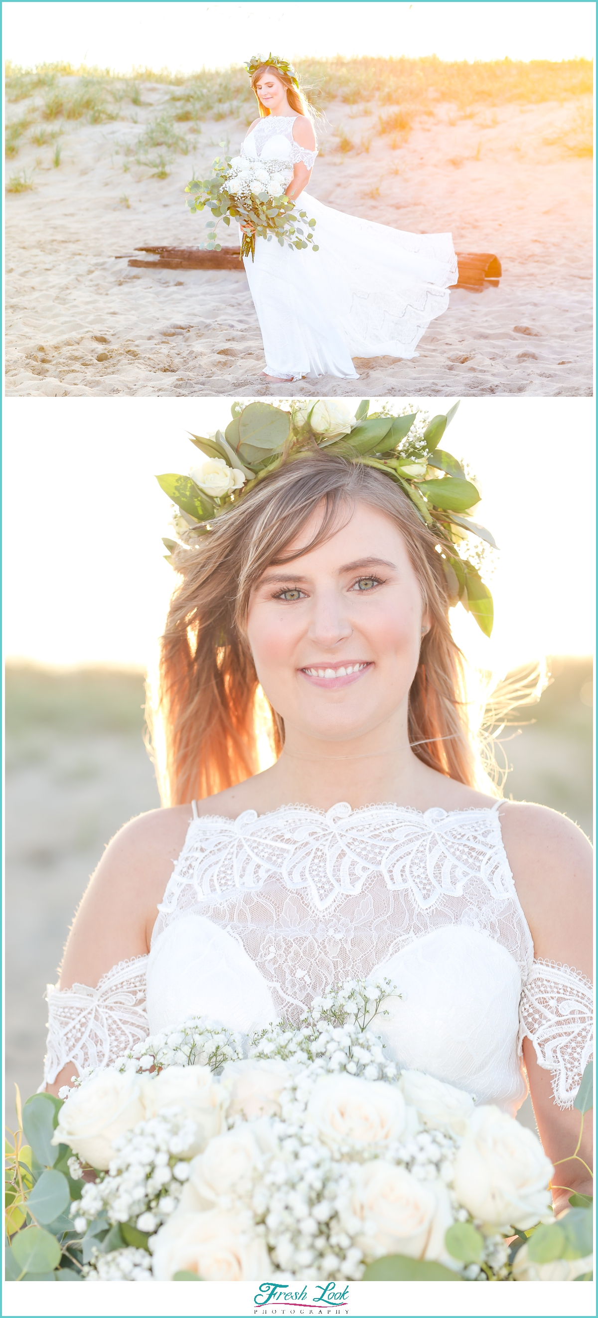 beautiful beach bride at sunset
