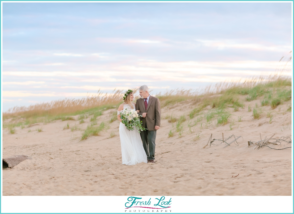 bride and her dad at beach wedding