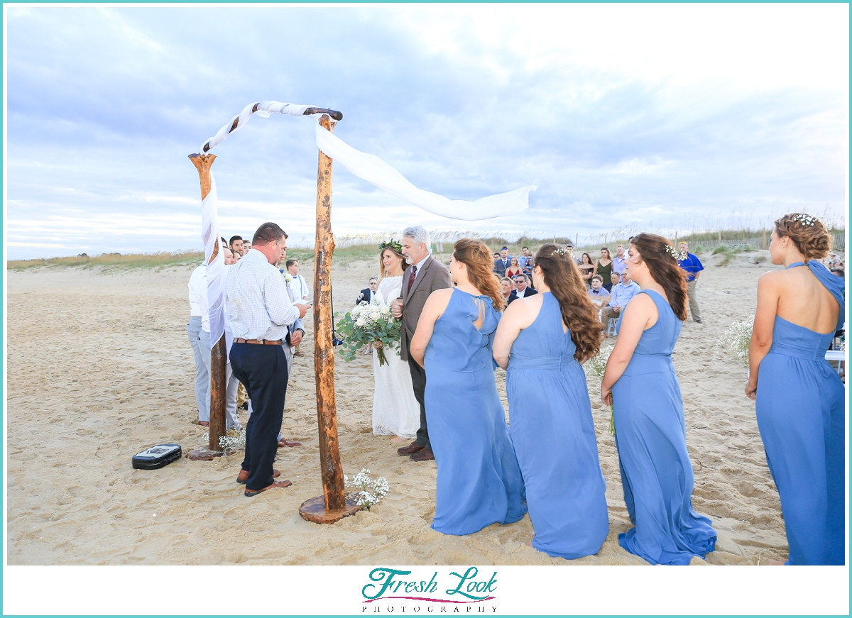 Shifting Sands beach wedding ceremony