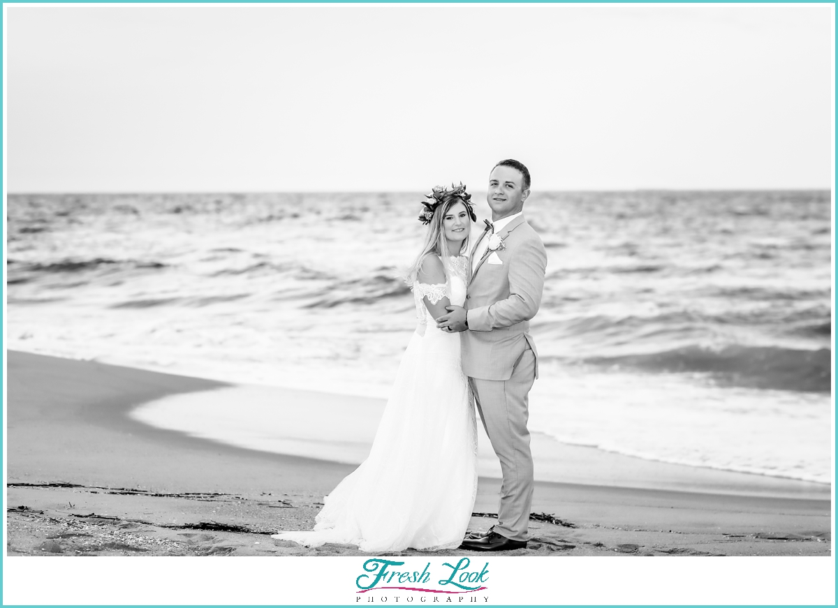 romantic black and white beach portrait