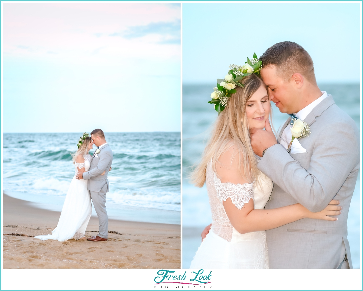 sunset beach photos with bride and groom