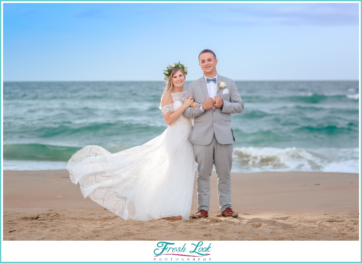 dramatic beach wedding portrait ideas