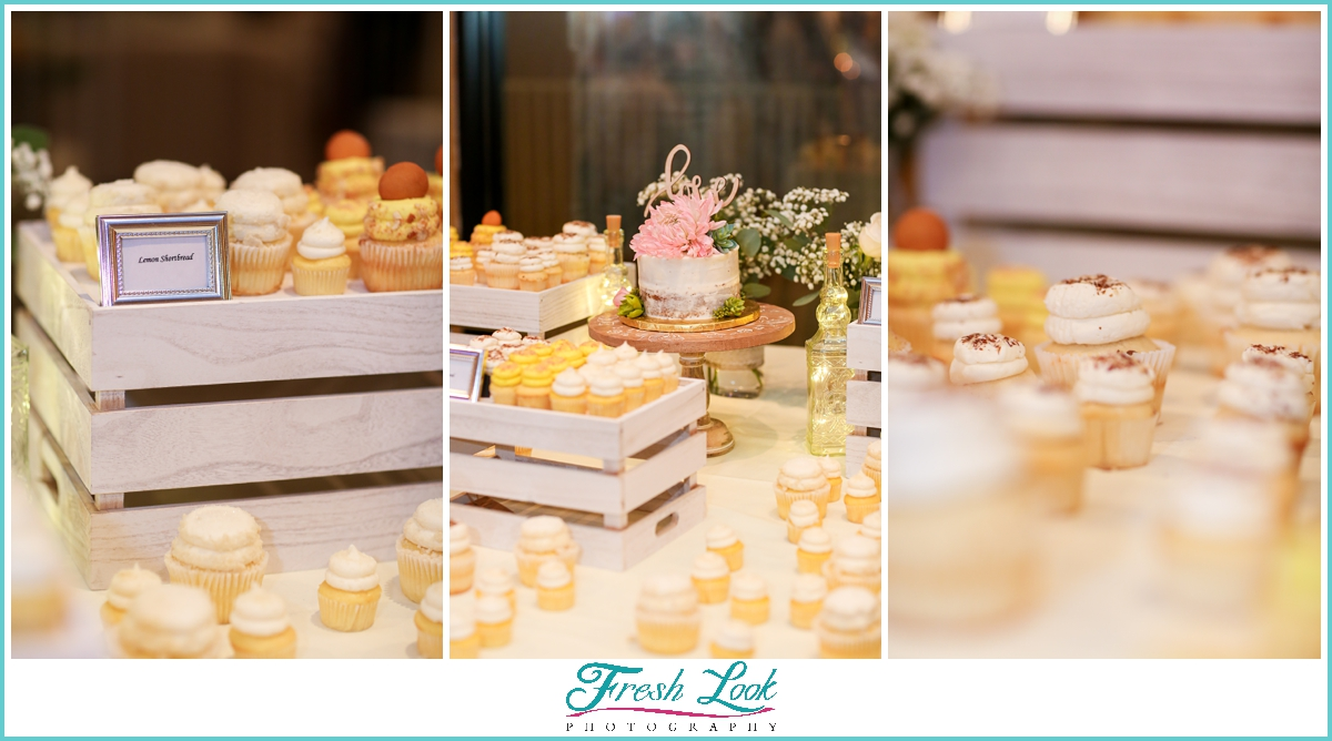 wedding cake and cupcake display