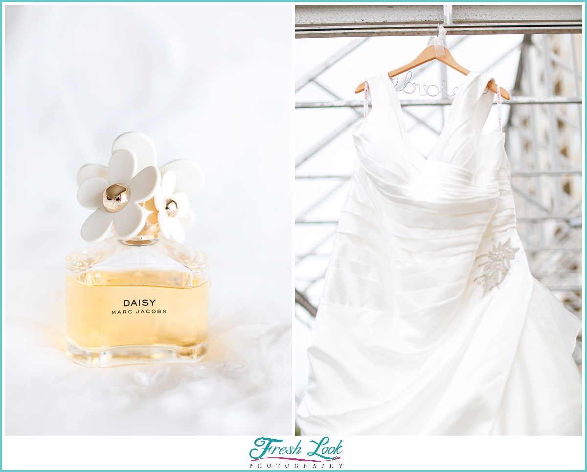 wedding gown and perfume bottle
