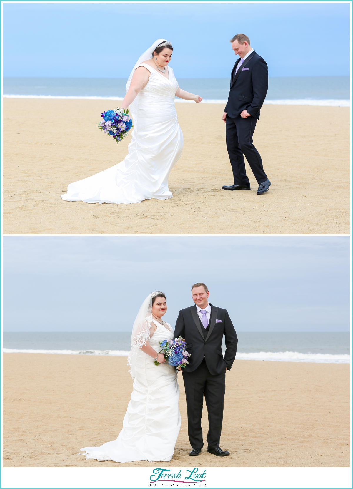 beach first look for bride and groom