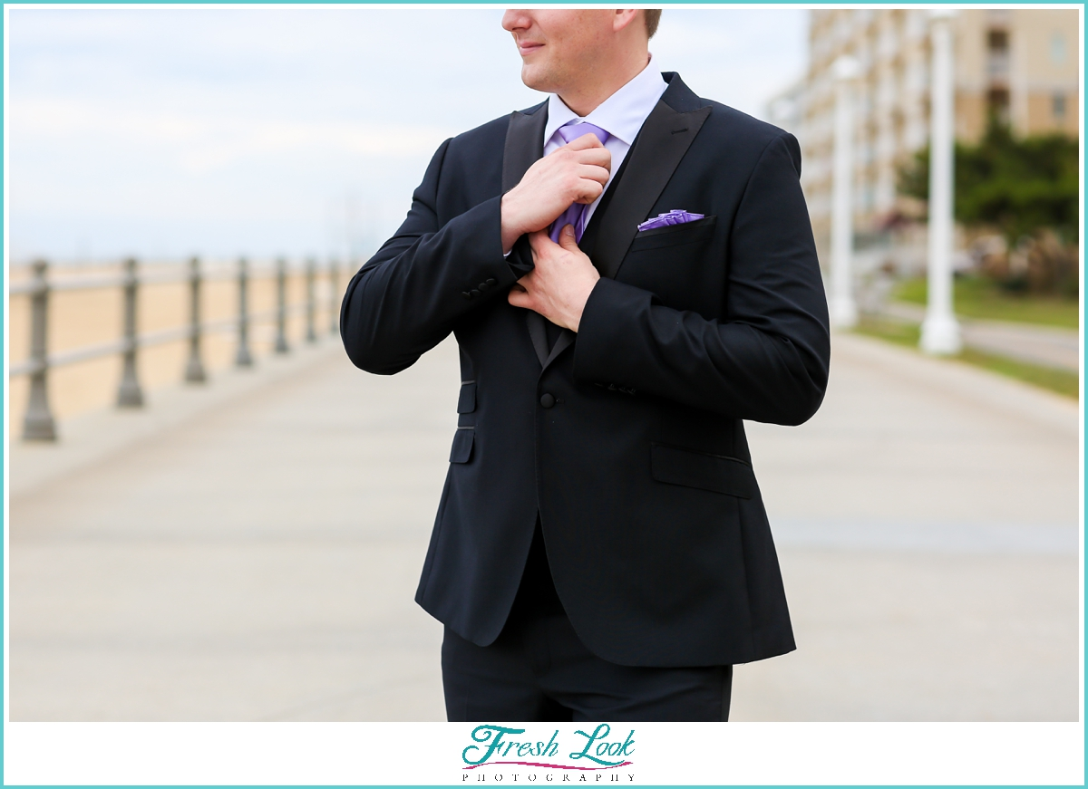 groom on the beach portraits