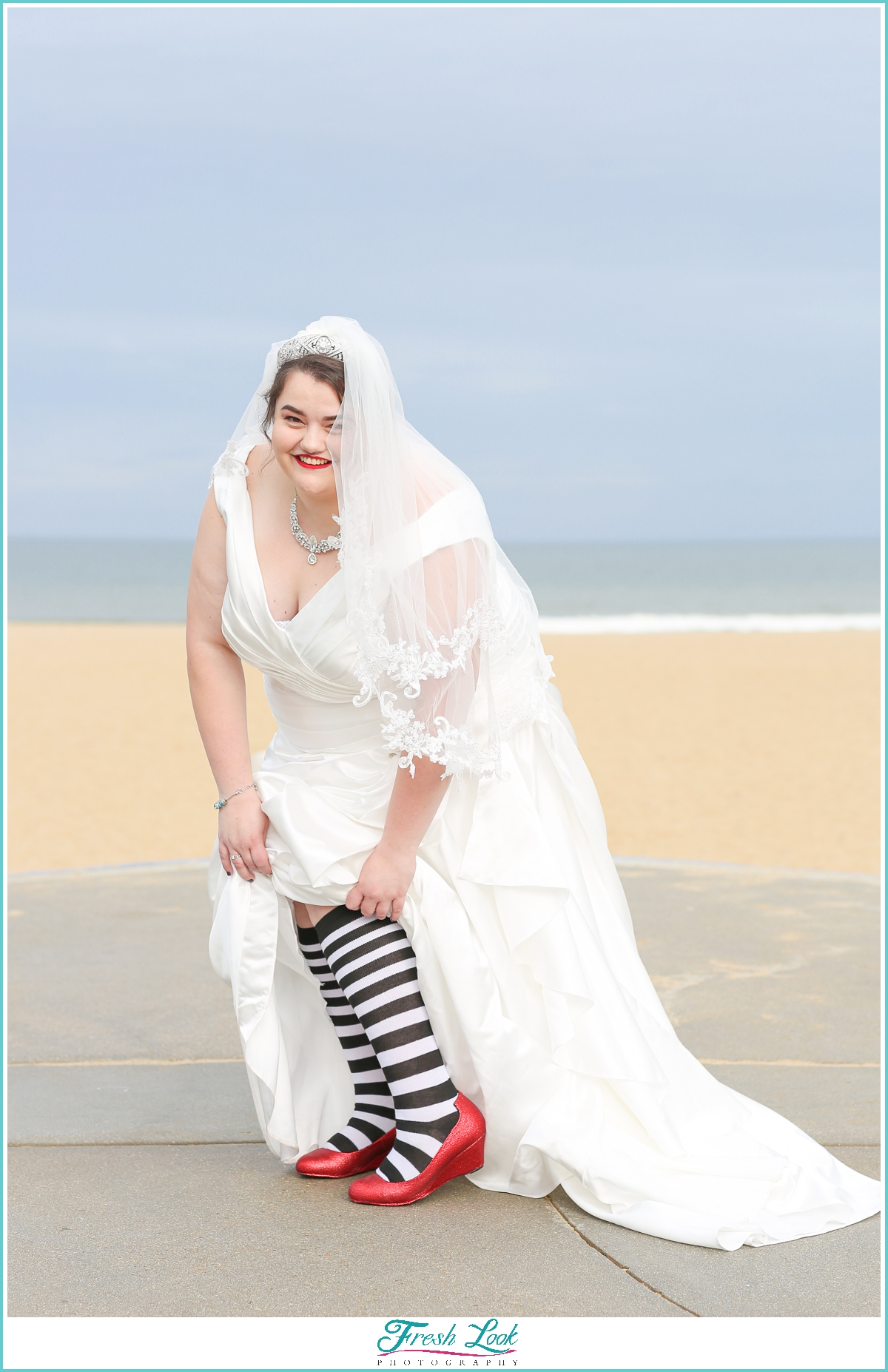 bride wearing ruby slippers