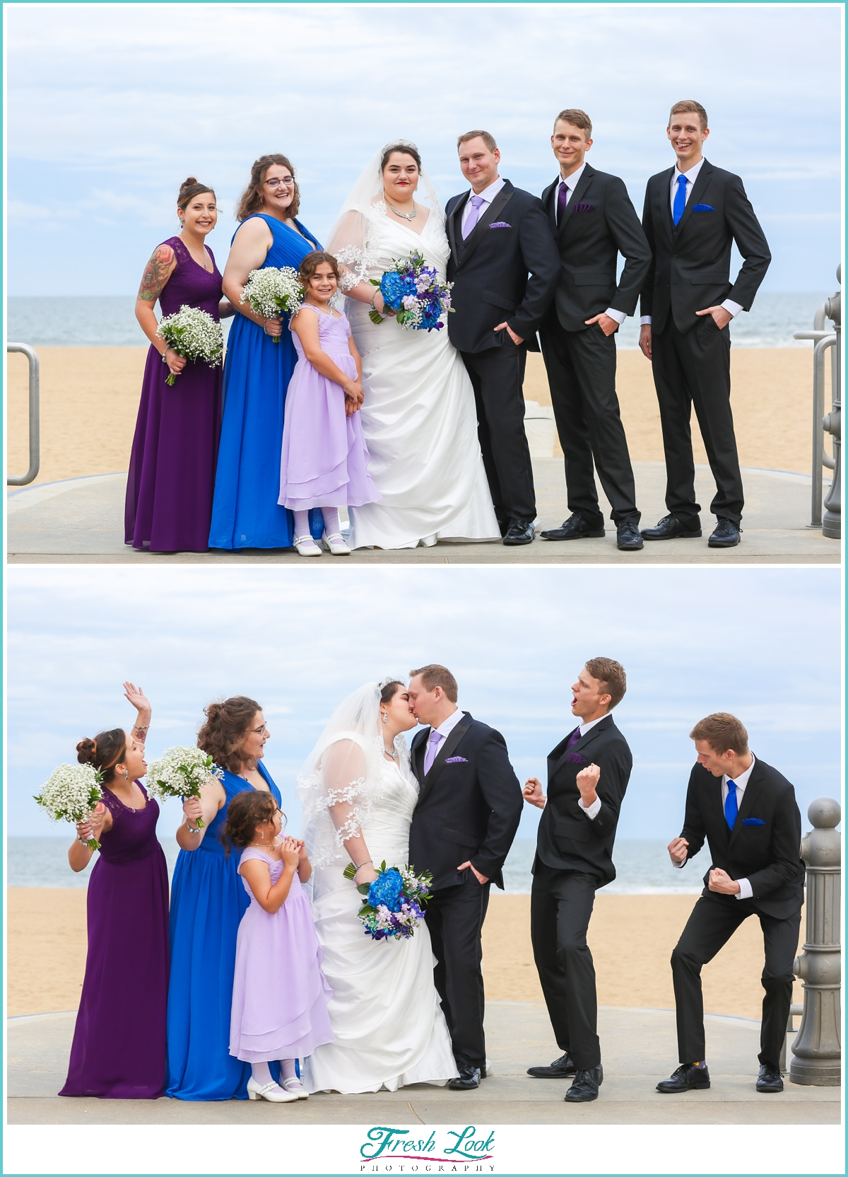 bridal party photos on the beach