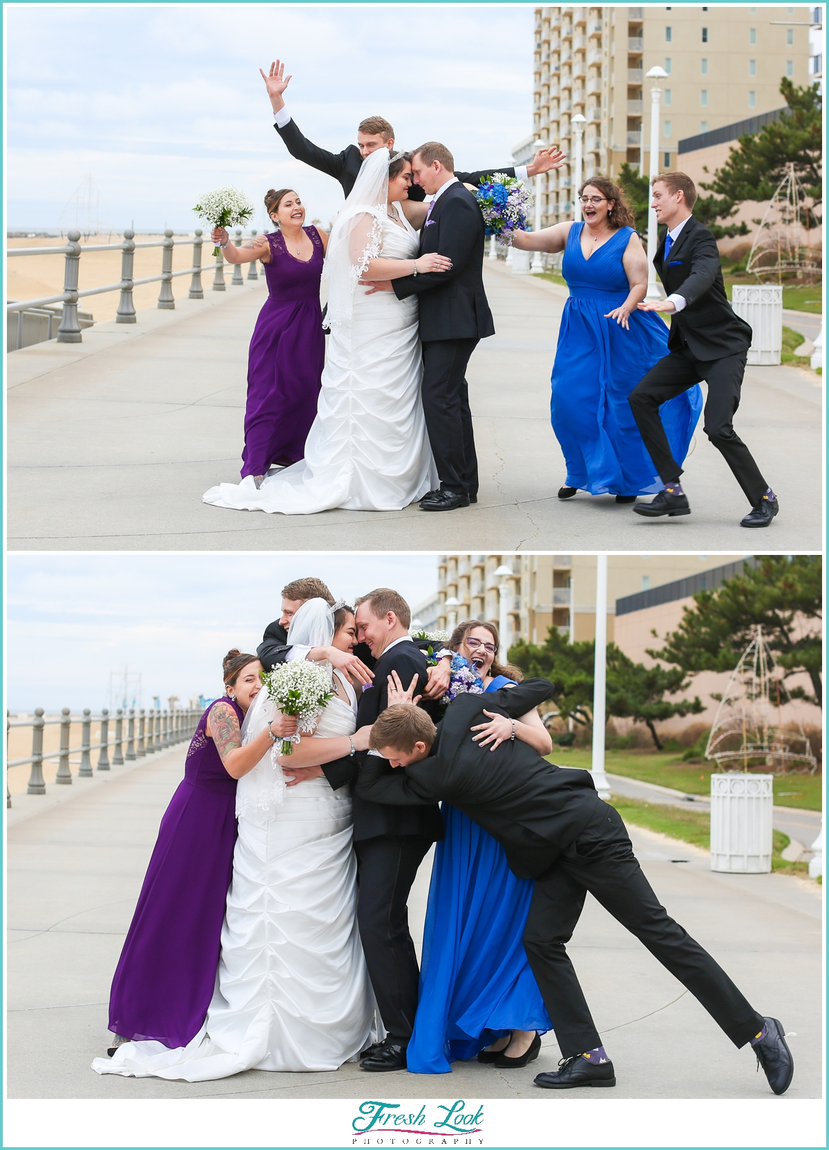 bridal party having fun during photos