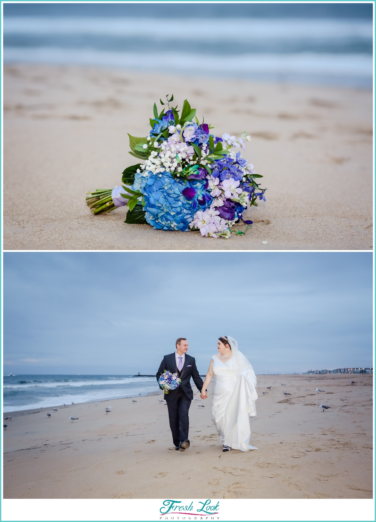 bride and groom photos on the beach
