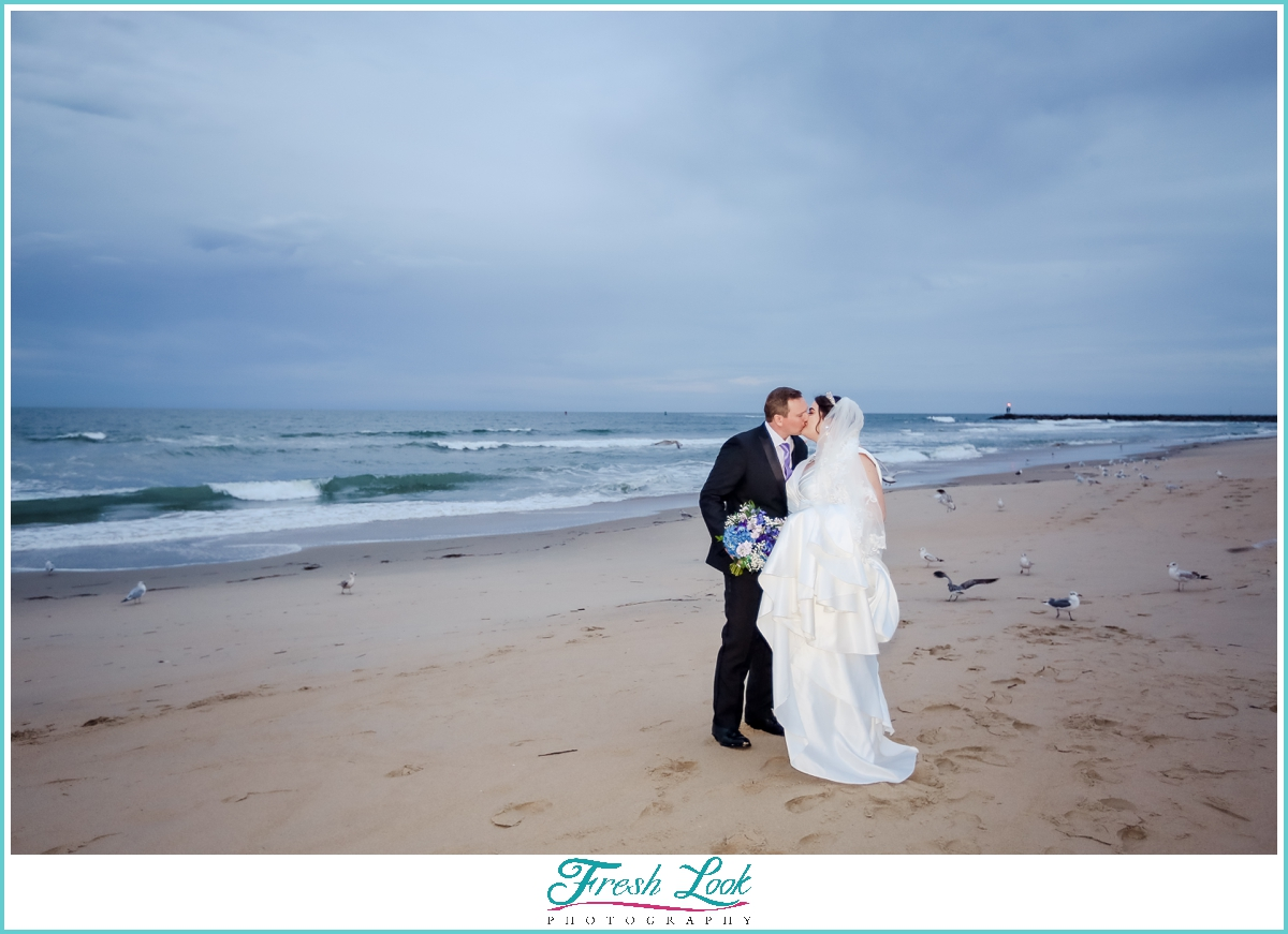 Bride and groom Romantic kiss on the beach