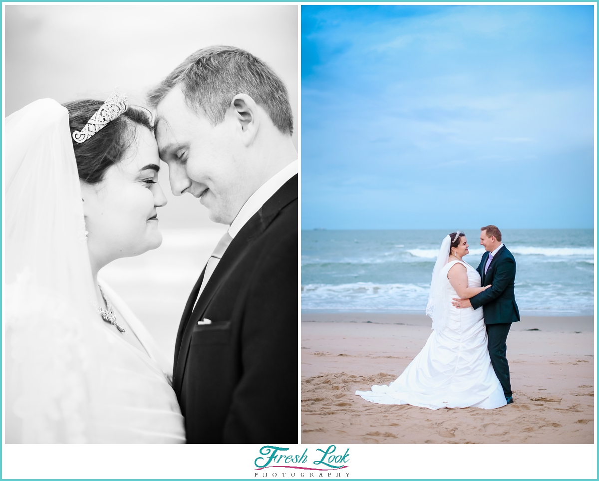 beach photos with bride and groom