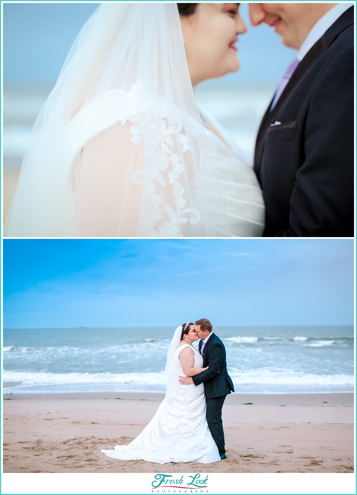 Virginia Beach sunset with bride and groom