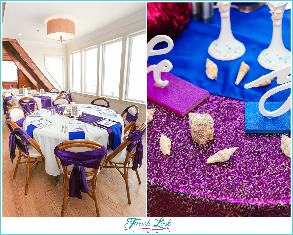 purple and blue wedding reception details