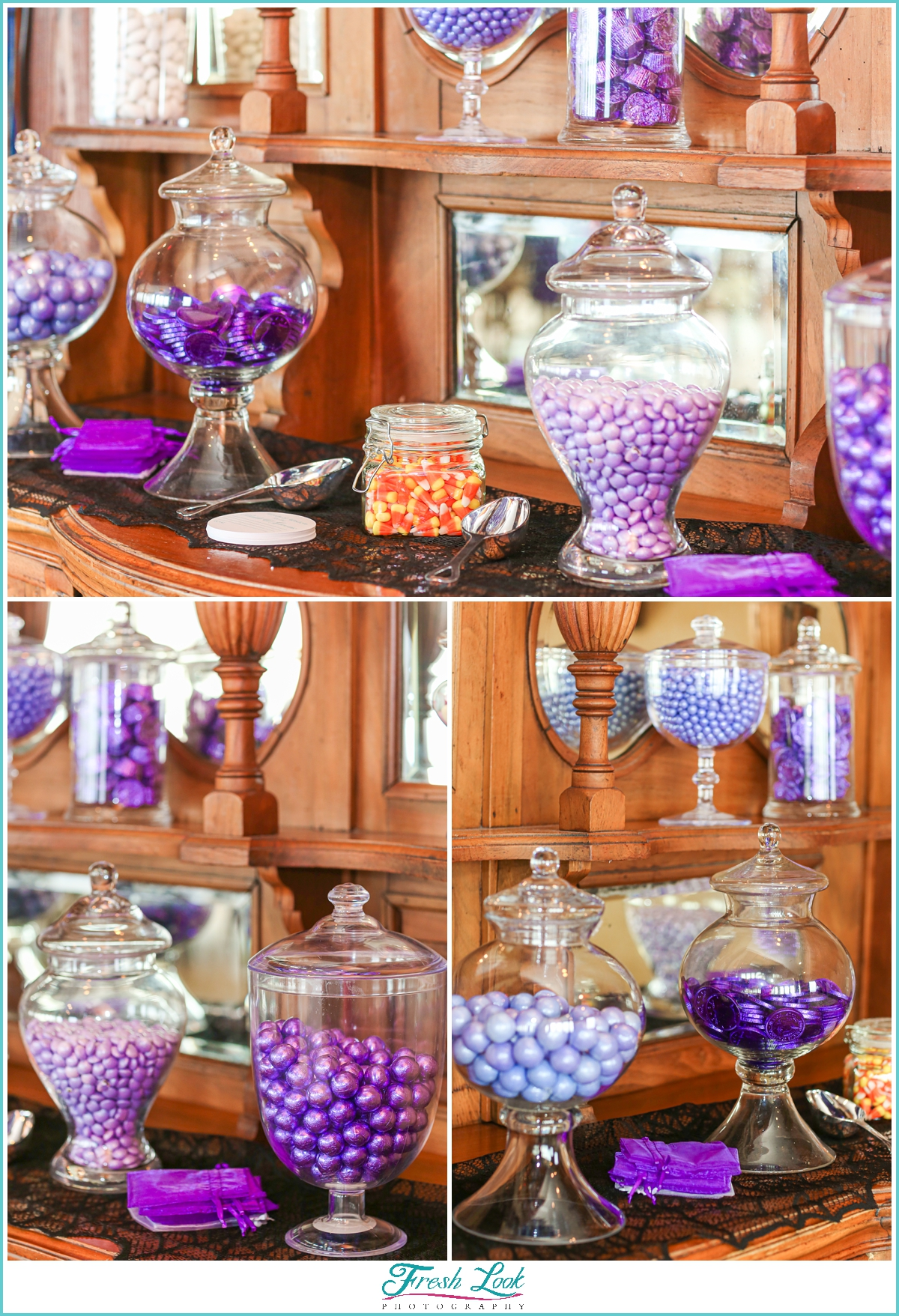 purple candy buffet favor bar