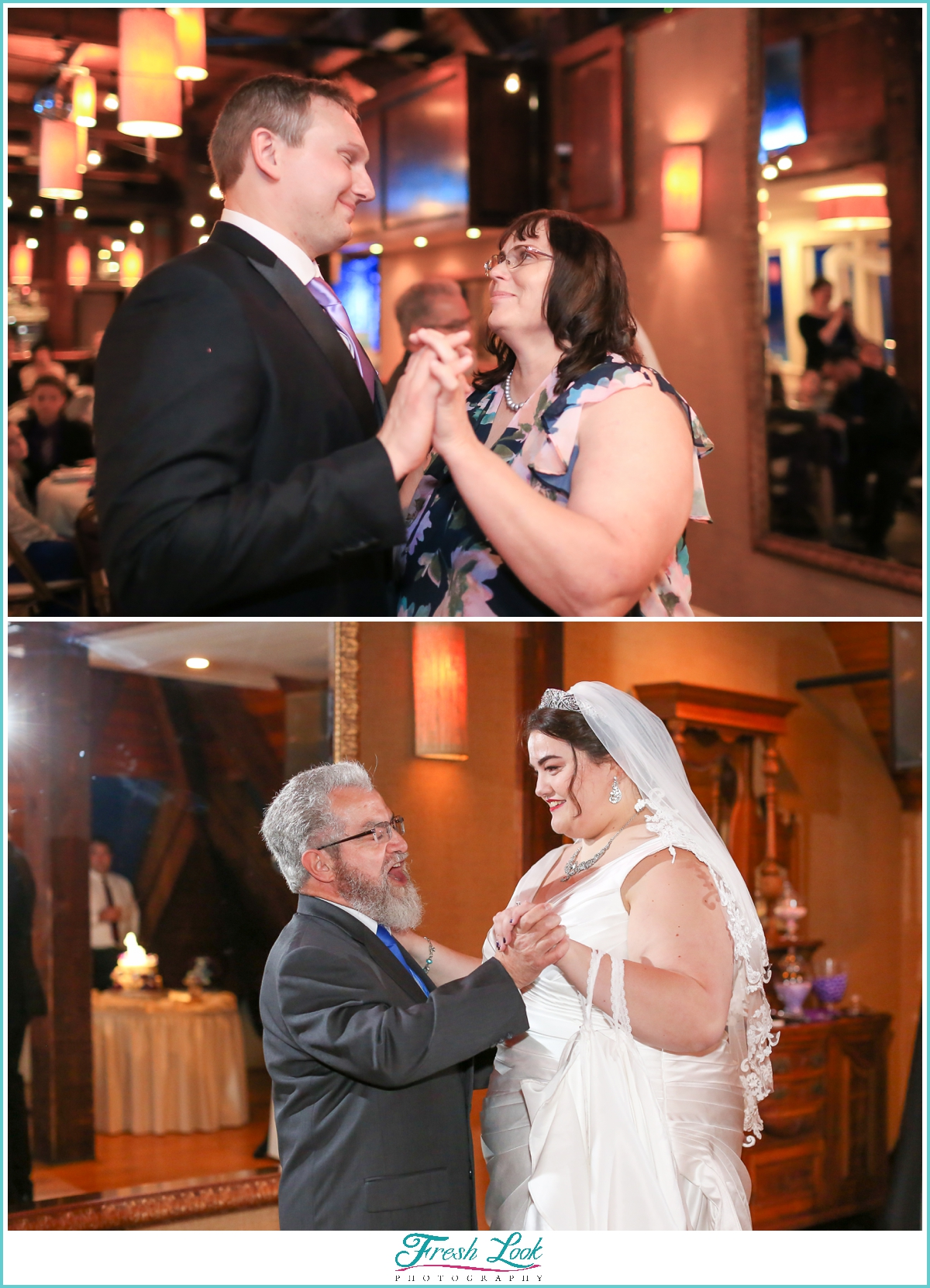 parents dance with bride and groom