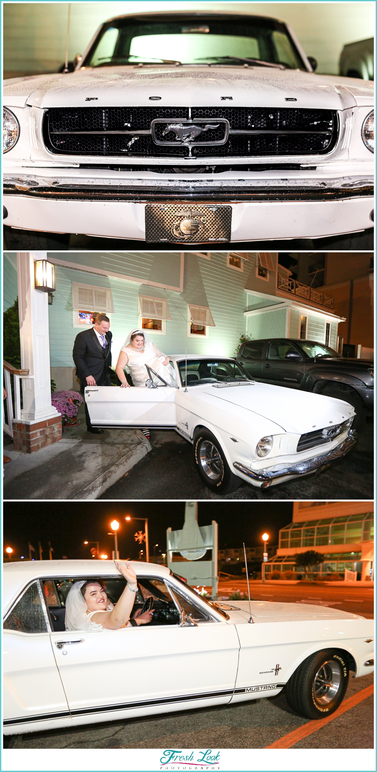 Bride and groom leaving in vintage Mustang