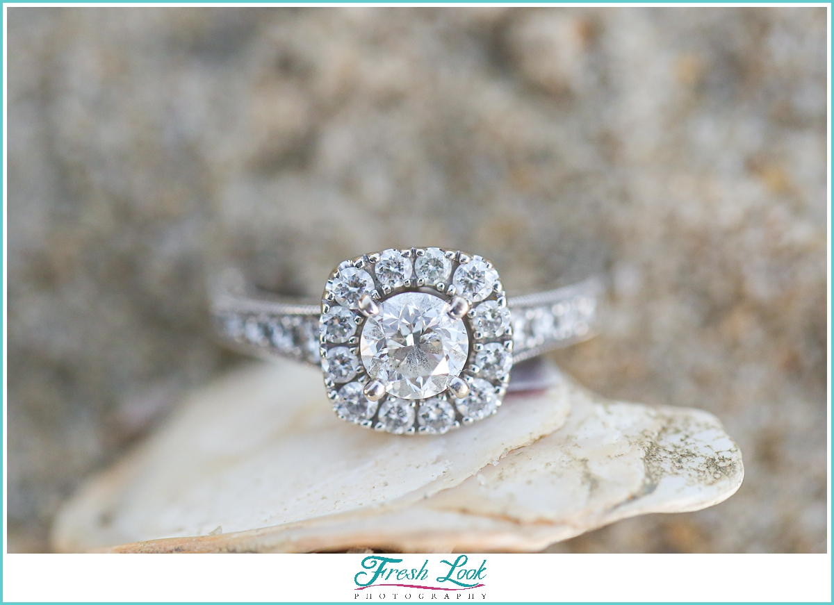 diamond engagement ring on a shell