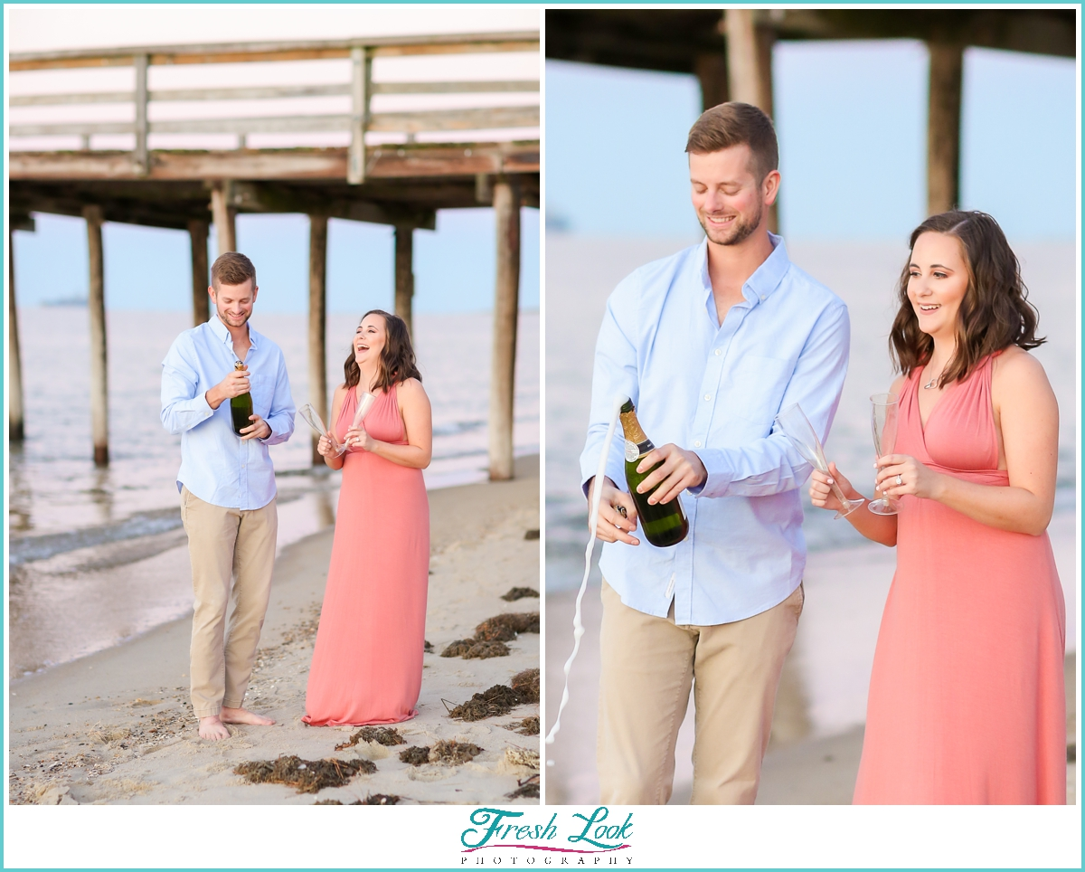 pop champagne on the beach