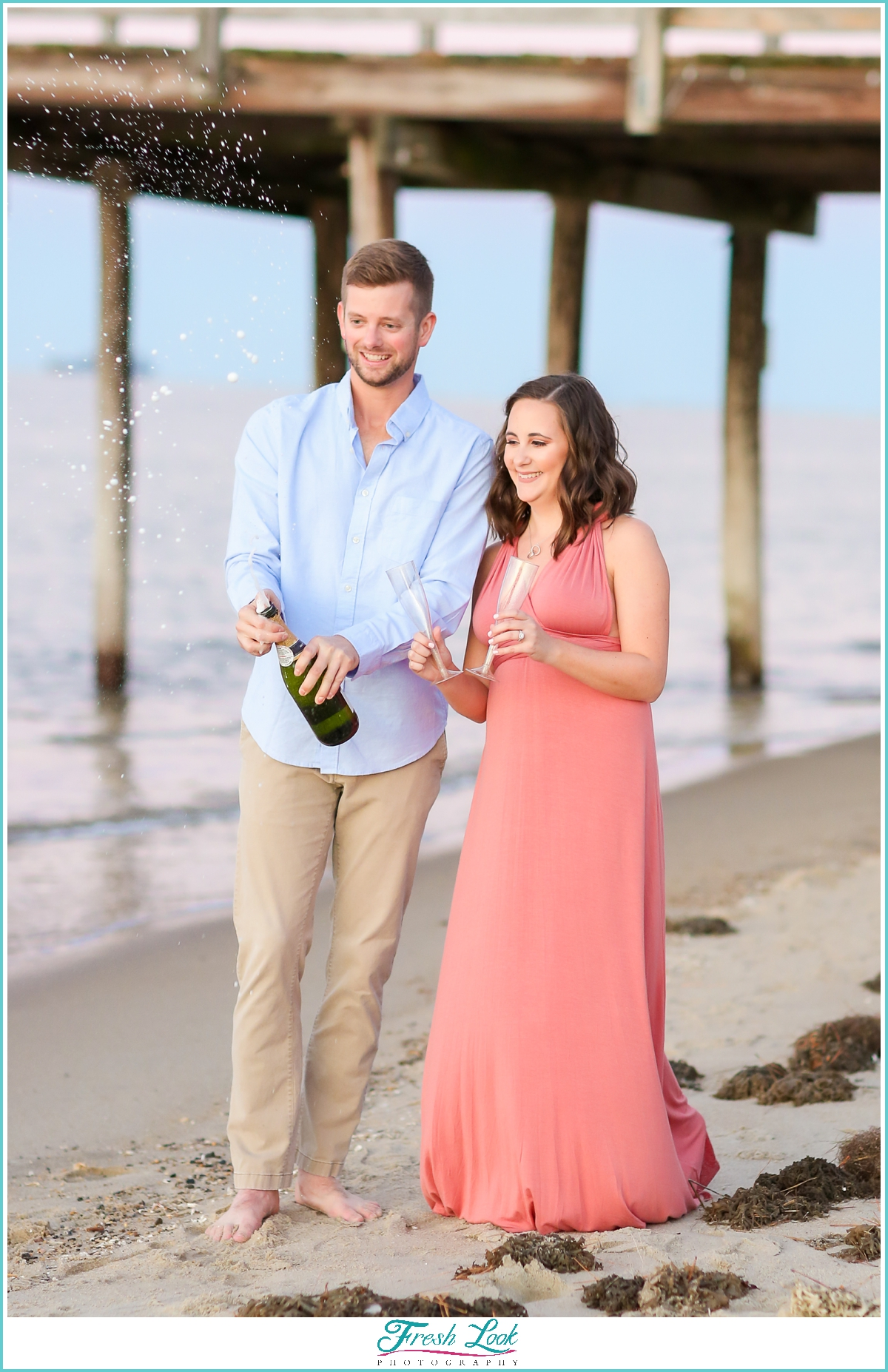 champagne during engagement session