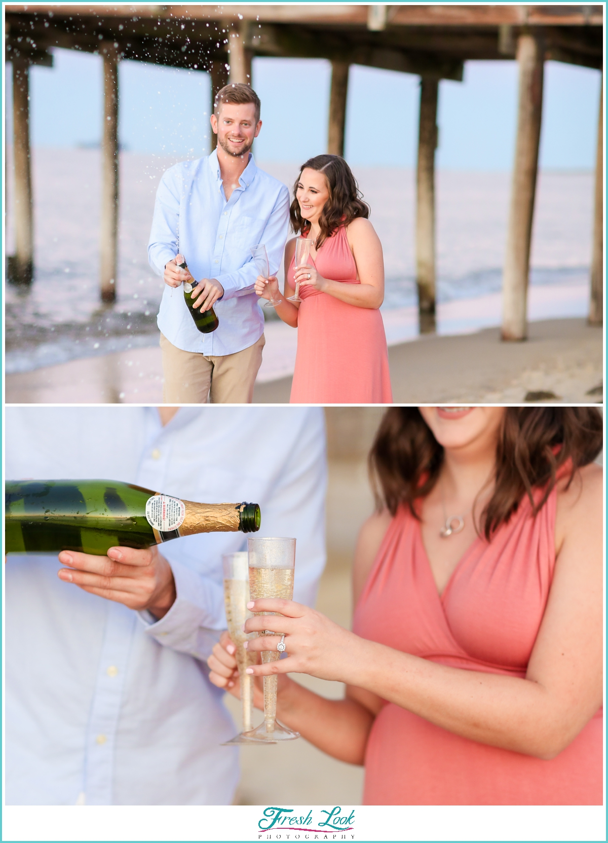 pouring champagne during engagement shoot