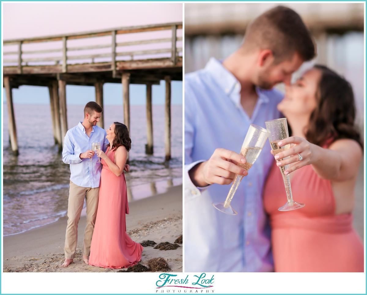 engaged photos on the beach